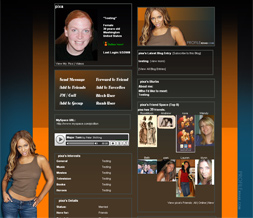 Beyonce Knowles Skinny Myspace Layout - Brown & Orange & Blue Theme