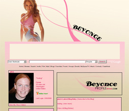 Hot Beyonce Knowles Myspace Layout - Pretty Beyonce Layout for Myspace