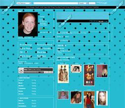 Blue & Black Polka Dots Myspace Layout - Big Polkadot Background