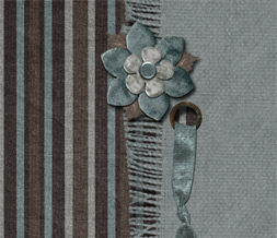 Blue & Brown Striped Layout -  Brown & Blue Flower Theme