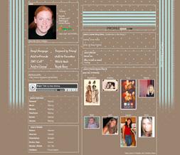 Blue & Brown Stripes Myspace Layout - Brown & Blue Polkadots Background