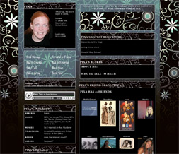 Blue Flowers Myspace Layout - Blue Floral Pattern Layout - Blue & Black Theme
