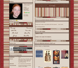 Reddish Brown Striped Myspace Layout - Brown & Red Colored Background