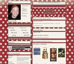 Red & White Polkadot Christmas Myspace Layout - Christmas Theme Preview