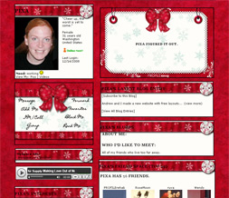 Red Snowflake Myspace Layout - Red Christmas Snowflake Layout - Snowflake Theme