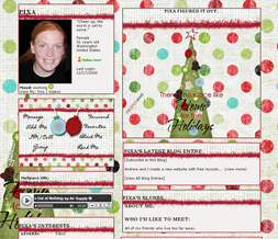 Polkadot Christmas Tree Myspace Layout - Xmas Polkadot Layout