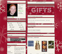 Red Snowflake Layout - Snowflake Christmas Myspace Layout Preview