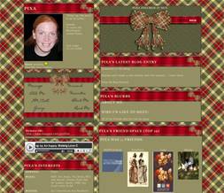 Red & Green Christmas Myspace Layout - Christmas Plaid Layout Preview