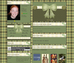 Green & Yellow Plaid Layout - Plaid Bow Myspace Layout