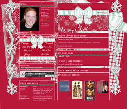 Christmas Snowflakes Myspace Layout - Christmas Ribbon Layout - Christmas Theme Preview