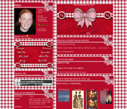 Red Checkered Myspace Layout - Checkered Ribbon Layout - Checkered Theme