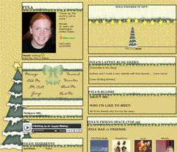 Christmas Tree Myspace Layout - Xmas Tree Layout - Xmas Stars Theme Preview
