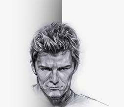 Artistic David Beckham Theme- Black & White Drawing of David Beckham Layout
