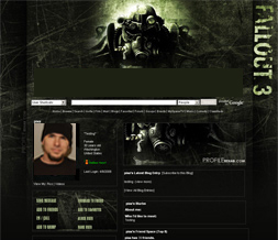 Fallout 3 Myspace Layout - Gaming Theme - Black & Green Background