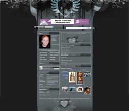 Dark Hearts Layout - Gray Layout with Hearts - Hearts Theme
