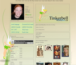 Tinkerbell Myspace Layout - Disney Background - Tinkerbell Theme