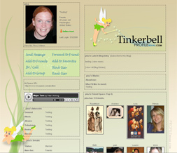 Tinkerbell Layout for Myspace - Disney Layout - Tinkerbell Background