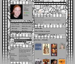 Black & White Halloween Layout - Spiderweb Myspace Layout