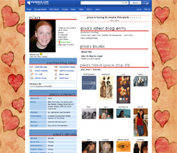 Big Red Hearts Default Myspace Layout - Pink & Brown Default Theme