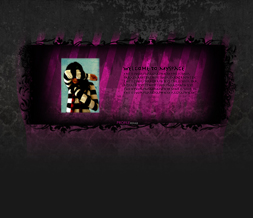 Black & Pink Striped Hide Everything Layout-Hide Everything Theme w/ Black Flowers
