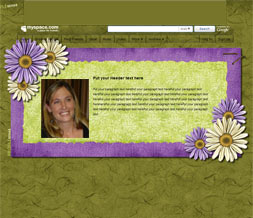 Purple & Green Hide Everything Myspace Layout-Green & Purple Flowers Short  Theme