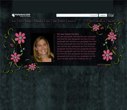 Pink & Black Flowery Hide Everything Layout - Cute No Scroll Layout w/ Flowers