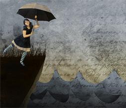 Vintage Umbrella Layout - Vintage Waves Layout for Myspace
