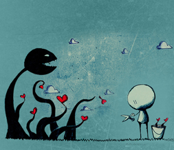 Cute Emo Character Hide Everything Layout - Blue Emo Hearts No Scroll Layout