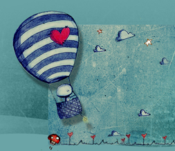 Cute Hot Air Balloon Hide Everything Layout-Stars & Clouds Love No Scroll Layout