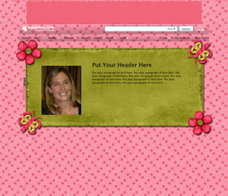 Pink & Green Polkadots Hide Everything Layout-Green & Pink Flowers Short Layout