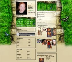 Skinny Butterfly Myspace Layout - Green Grass Celtic Layout