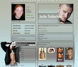 Justin Timberlake Myspace Layout - Grey JT Theme - Justin Layout