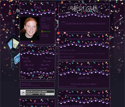 Purple Mardi Gras Myspace Theme - Confetti Mardi Gras Layout