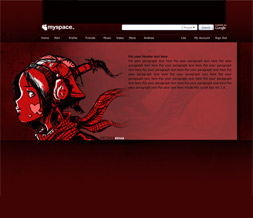 Red Anime Layout- Artsy Anime Girl Theme for Myspace