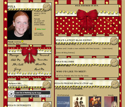 Red & Brown With Yellow Stars Myspace Layout - Red & Brown Theme