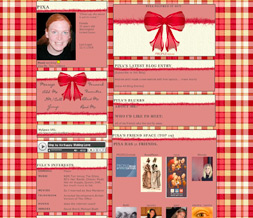 Yellow & Red Checkered Myspace Layout - Red Tinsel Layout - Checkered Theme