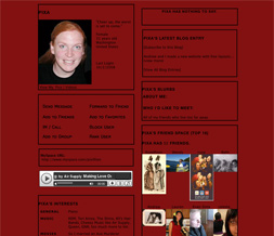 Red Skinny Myspace Layout - Skinny Red Layout - Skinny Red Theme