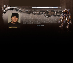 Robot Hide Everything Myspace Layout - Gold Robot No Scroll Layout Preview