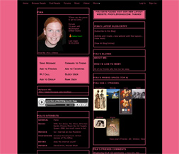 Skinny Black & Pink Plain Myspace Layout - Skinny Pink & Black Layout