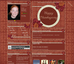 Happy Thanksgiving Myspace Layout - Thanksgiving Flower Layout Preview