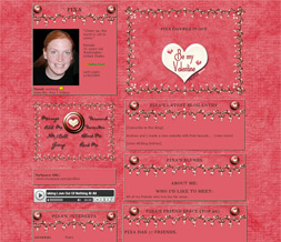 Pink Be My Valentine Layout - New Valentines Day Theme - Hot Pink Hearts Layout