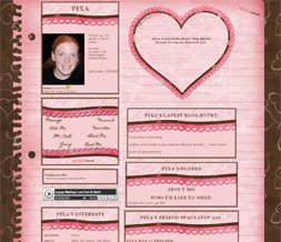 Paper Valentines Heart Myspace Layout - Pink Paper Theme