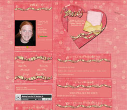 XOXO Valentines Myspace Layout - Girly Love Theme
