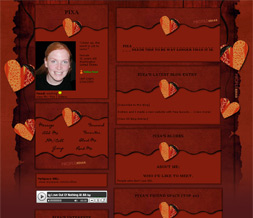 Red Pattern Heart Myspace Layout - Red & Orange Heart Layout Preview