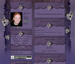 Purple Quilted Heart Myspace Layout - Purple Hearts Theme