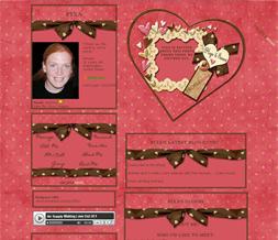 Pink & Yellow Polkadot Heart Layout - Pink & Brown Valentines Myspace Theme