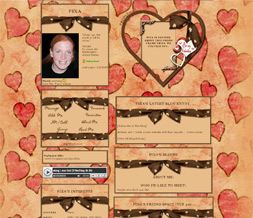 Big Red Hearts Myspace Layout - Pink & Brown Valentines Theme