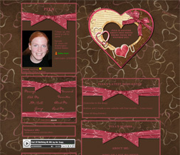 Hot Pink & Brown Valentines Layout - I Heart U Myspace Theme