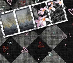 Black & Pink Hearts Twitter Background - Black & Gray Checkers Background