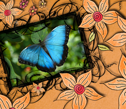 Orange & Blue Butterfly Twitter Background - Orange Twitter Layout with Butterflies Preview
